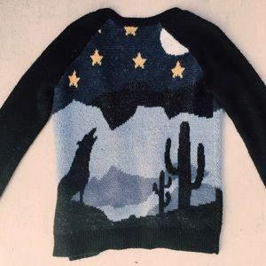 LA Hearts Wolf & Desert Scene Sweater